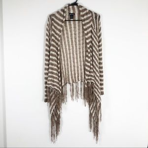 Brown and Cream Knit Fringe Cardigan Size Small